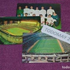 Coleccionismo deportivo: VINTAGE - LOTE DE 3 ANTIGUAS POSTALES DEL REAL MADRID Y DEL SANTIAGO BERNABEU - UNA CIRCULADA. Lote 81029324