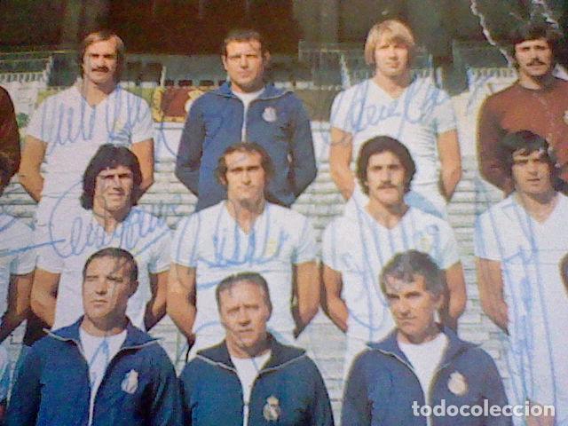 Coleccionismo deportivo: postal tarjeta plantilla real madrid liga 77 78 ed Bergas s/c sobada 28 autografos originales - Foto 12 - 83595428