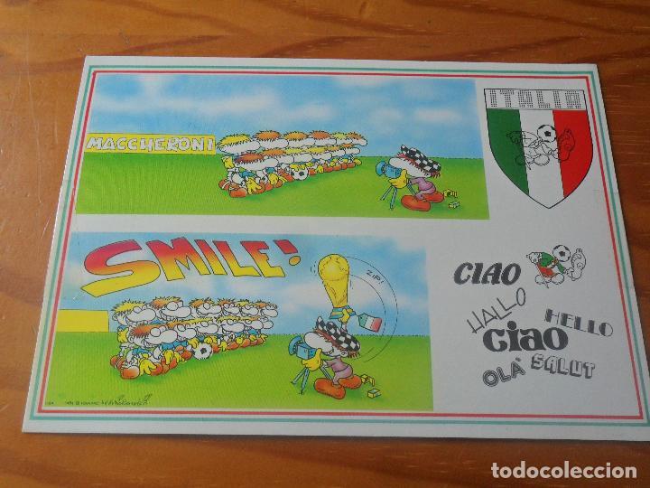 POSTAL ITALIA 90 MUNDIAL DE FUTBOL - CARTOON CARDS DE FULVIO BERNARDINI - NUEVA SIN USO - (Coleccionismo Deportivo - Postales de Deportes - Fútbol)