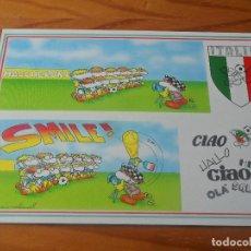 Coleccionismo deportivo: POSTAL ITALIA 90 MUNDIAL DE FUTBOL - CARTOON CARDS DE FULVIO BERNARDINI - NUEVA SIN USO -. Lote 86130392