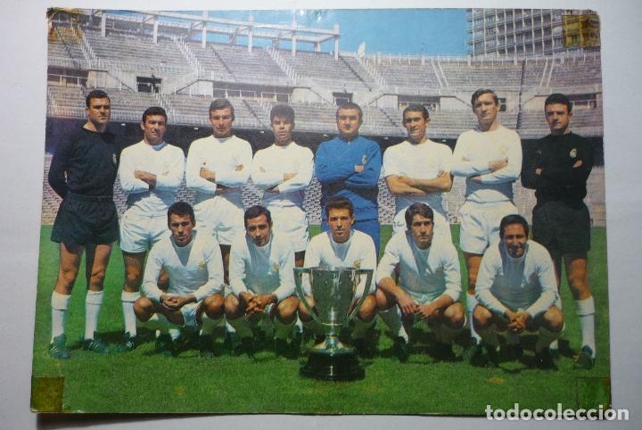 POSTAL FUTBOL REAL MADRID -CAMPEON 1966-67 TAMAÑO CUARTILLA (Coleccionismo Deportivo - Postales de Deportes - Fútbol)