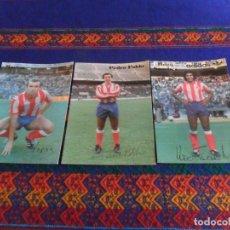 Coleccionismo deportivo: LOTE 3 POSTAL ATLÉTICO DE MADRID CON AUTÓGRAFO HUGO SÁNCHEZ ADIDAS, PEDRO PABLO Y MARINA. MBE. RARAS. Lote 95673967