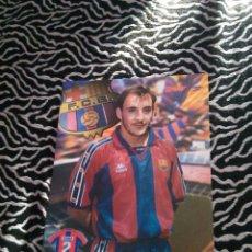 Coleccionismo deportivo: LAMINA POSTAL DE 1 PÁGINA F.C. BARCELONA LIGA 1995-1996 (SPORT Y KAPPA): ALBERT FERRER (BARÇA 95-96). Lote 101518887