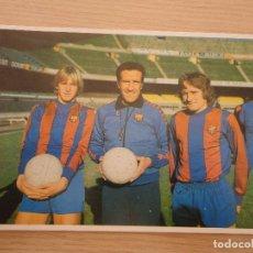 Coleccionismo deportivo: POSTAL FC BARCELONA HELENIO HERRERA BERND SCHUSTER ALLAN SIMONSEN 1980. Lote 103236407