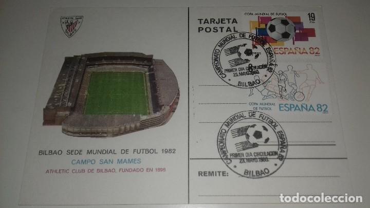 POSTAL SAN MAMES ATHLETIC DE BILBAO SEDE MUNDIAL ESPAÑA 82 ORIGINAL MATASELLOS PERFECTA (Coleccionismo Deportivo - Postales de Deportes - Fútbol)