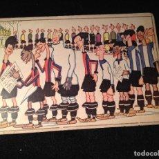 Coleccionismo deportivo: CAJA AZUL ANTIGUA MUY RARA POSTAL EQUIPO DEL FUTBOL CLUB FC BARCELONA F.C BARÇA CF . Lote 112180823