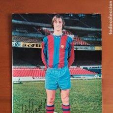 Coleccionismo deportivo: POSTAL JOHAN CRUYFF FIRMA IMPRESA - FC BARCELONA BARÇA FÚTBOL CULÉ AUTÓGRAFO. Lote 117024740