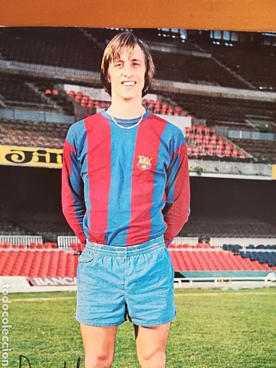 Coleccionismo deportivo: Postal Johan Cruyff firma impresa - FC Barcelona Barça fútbol culé autógrafo - Foto 4 - 117024740