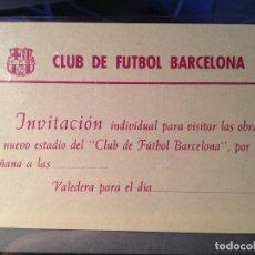 Collectionnisme sportif: CABOT INVITACIÓN AÑOS 50 VISITA OBRAS DEL NUEVO ESTADIO DEL FUTBOL FC CLUB BARCELONA F.C BARCA CF. Lote 120905583