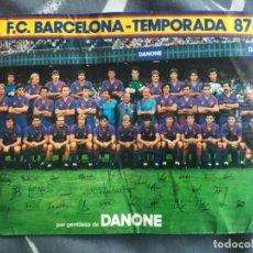 Coleccionismo deportivo: ANTIGUA TARJETA TIPO POSTAL FUTBOL CLUB BARCELONA TEMPORADA 87-88 DANONE FIRMAS IMPRESAS. Lote 122884099