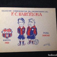 Coleccionismo deportivo: CAJA 2 CROMO POSTAL PUBLICIDAD DETRÁS DE LA UNIVERSIDAD PIERA FUTBOL CLUB FC BARCELONA F.C BARÇA CF. Lote 124841143