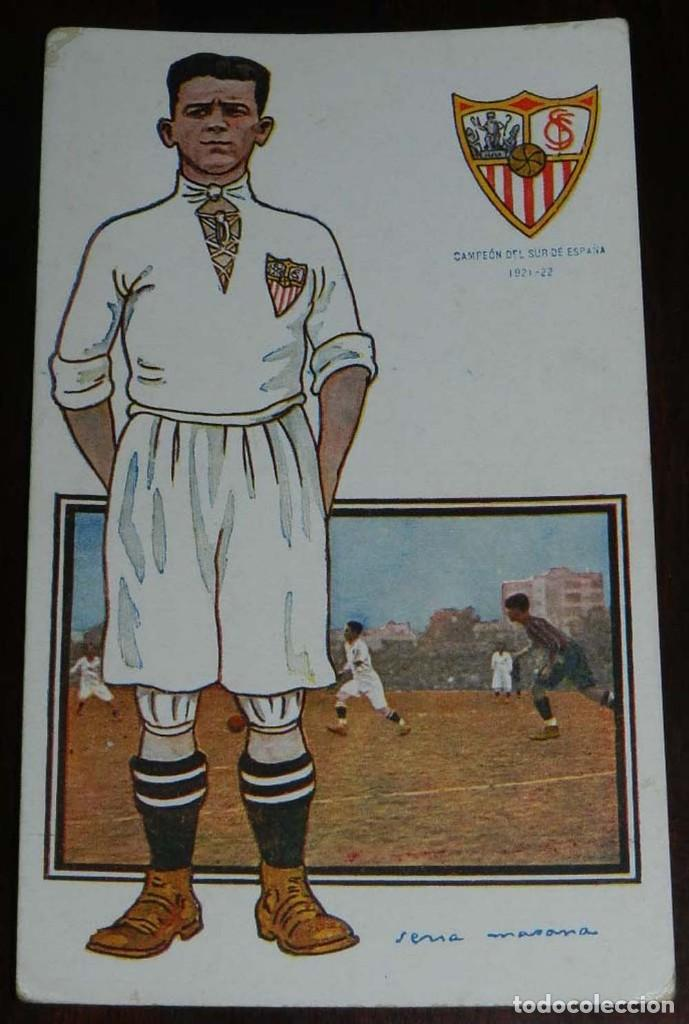 Coleccionismo deportivo: COLECCION COMPLETA DE 11 POSTALES DEL SEVILLA F.C., CAMPEON DEL SUR DE ESPAÑA 1922 - 1923, SERIE B, - Foto 3 - 128637695