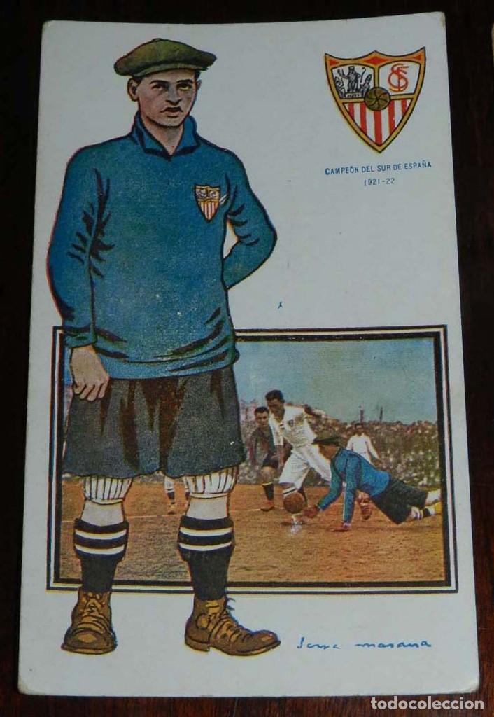 Coleccionismo deportivo: COLECCION COMPLETA DE 11 POSTALES DEL SEVILLA F.C., CAMPEON DEL SUR DE ESPAÑA 1922 - 1923, SERIE B, - Foto 4 - 128637695