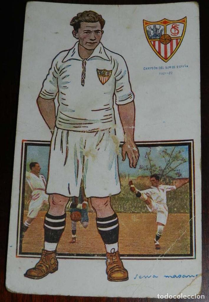 Coleccionismo deportivo: COLECCION COMPLETA DE 11 POSTALES DEL SEVILLA F.C., CAMPEON DEL SUR DE ESPAÑA 1922 - 1923, SERIE B, - Foto 7 - 128637695