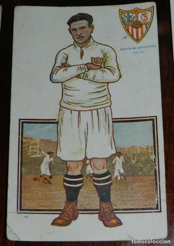 Coleccionismo deportivo: COLECCION COMPLETA DE 11 POSTALES DEL SEVILLA F.C., CAMPEON DEL SUR DE ESPAÑA 1922 - 1923, SERIE B, - Foto 11 - 128637695