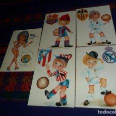 Coleccionismo deportivo: POSTAL REAL MADRID FC BARCELONA VALENCIA ATLÉTICO MADRID REGALO 2 CALENDARIO CAJA MADRID MUNDIAL 82. Lote 135639831