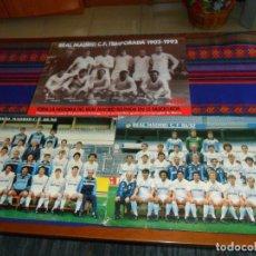 Coleccionismo deportivo: POSTAL GIGANTE 42X31 CMS REAL MADRID 85 86 Y 86 87 CON PLANTILLA POR DETRÁS. REGALO PÓSTER 1902 1992. Lote 136363850
