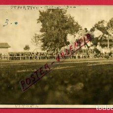 Coleccionismo deportivo: POSTAL FOTOGRAFICA , CAMPO ESTADIO DEL ALAVES , DEPORTIVO ACERO 1927 , ANTIGUA , ORIGINAL , PF4. Lote 137335670