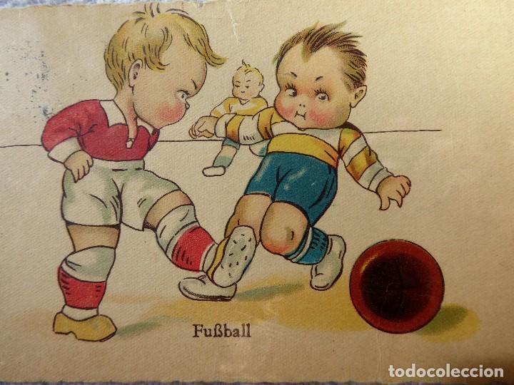FUT-23. ANTIGUA POSTAL ALEMANA NIÑOS FUTBOLISTAS. AÑO 1931. CIRCULADA. (Coleccionismo Deportivo - Postales de Deportes - Fútbol)