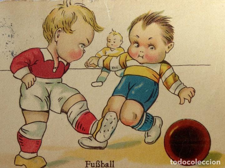 Coleccionismo deportivo: FUT-23. ANTIGUA POSTAL ALEMANA NIÑOS FUTBOLISTAS. AÑO 1931. CIRCULADA. - Foto 2 - 143320738