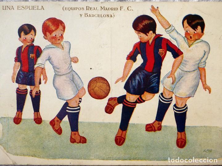 FUT-24. REAL MADRID F.C. - BARCELONA. UNA ESPUELA. ILUSTRACIÓN DE HERTOGS. AÑO 1925. (Coleccionismo Deportivo - Postales de Deportes - Fútbol)