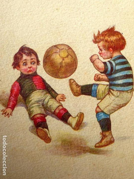 Coleccionismo deportivo: FUT-26. ANTIGUA POSTAL ITALIANA. NIÑOS JUGANDO A FUTBOL. ILUSTRACIÓN DE COLOMBON. AÑO 1921. - Foto 2 - 186497940