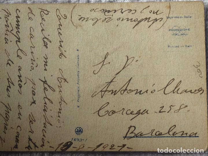 Coleccionismo deportivo: FUT-26. ANTIGUA POSTAL ITALIANA. NIÑOS JUGANDO A FUTBOL. ILUSTRACIÓN DE COLOMBON. AÑO 1921. - Foto 3 - 186497940