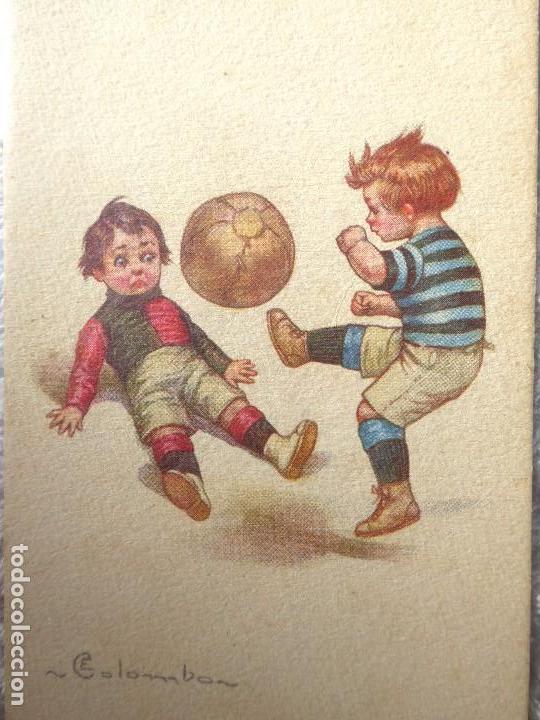 FUT-26. ANTIGUA POSTAL ITALIANA. NIÑOS JUGANDO A FUTBOL. ILUSTRACIÓN DE COLOMBON. AÑO 1921. (Coleccionismo Deportivo - Postales de Deportes - Fútbol)