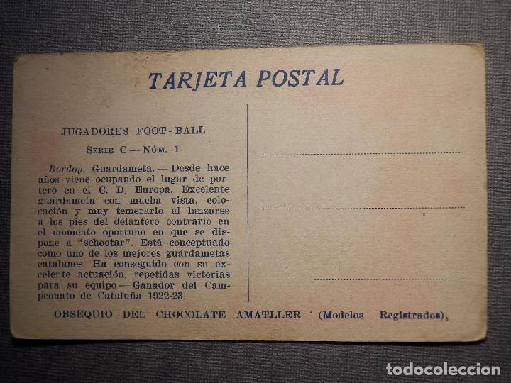 Coleccionismo deportivo: Foot-Ball - AMATLLER - SERIE C NUM. 1, CLUB ESPORTIU EUROPA - CAMPEÓN DE CATALUÑA 1922-23 - BORDOY - Foto 2 - 150088506