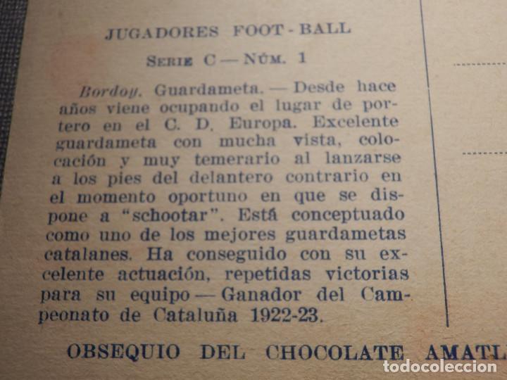 Coleccionismo deportivo: Foot-Ball - AMATLLER - SERIE C NUM. 1, CLUB ESPORTIU EUROPA - CAMPEÓN DE CATALUÑA 1922-23 - BORDOY - Foto 3 - 150088506