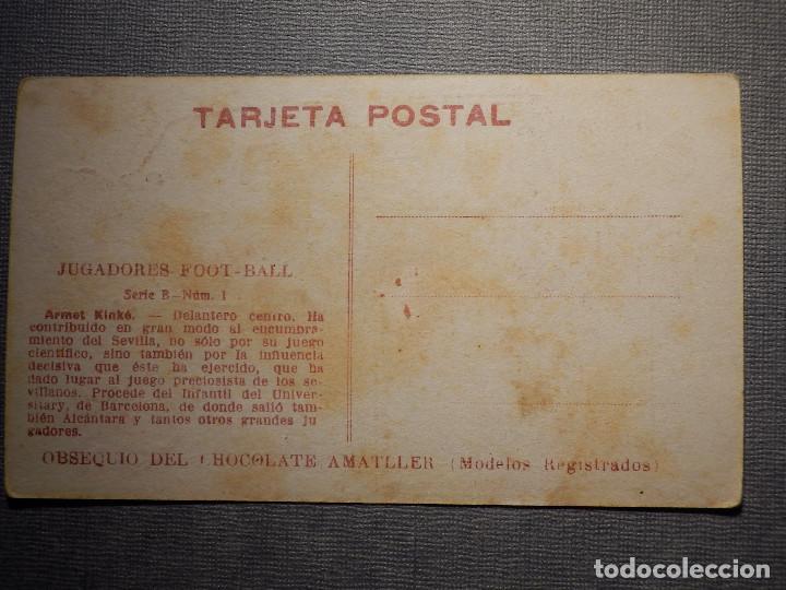Coleccionismo deportivo: POSTAL AMATLLER - SERIE B NUM. 1, SEVILLA CLUB DE FUTBOL - CAMPEÓN SUR ESPAÑA 1921-22 - ARMET KINKÉ - Foto 2 - 150092522