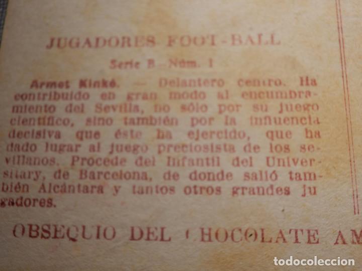 Coleccionismo deportivo: POSTAL AMATLLER - SERIE B NUM. 1, SEVILLA CLUB DE FUTBOL - CAMPEÓN SUR ESPAÑA 1921-22 - ARMET KINKÉ - Foto 3 - 150092522