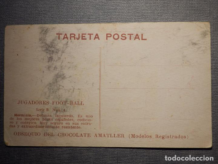 Coleccionismo deportivo: POSTAL AMATLLER - SERIE B NUM. 4, SEVILLA CLUB DE FUTBOL - CAMPEÓN SUR ESPAÑA 1921-22 - HERMINIO - Foto 2 - 150092974