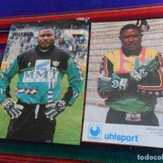 Coleccionismo deportivo: LOTE 2 POSTAL WILFRED AGBONAVBARE ASOCIACIÓN DEPORTIVA RAYO VALLECANO Y SELECCIÓN DE NIGERIA. RARAS.. Lote 150316326