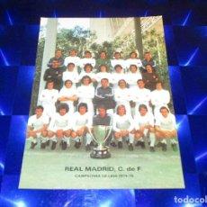 Coleccionismo deportivo: POSTAL REAL MADRID C.DE F. ( CAMPEONES DE LIGA 1974-1975 ) - AMANCIO - SANTILLANA - DEL BOSQUE .... Lote 150446766