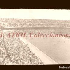 Coleccionismo deportivo: MADRID - ESTADIO FUTBOL CHAMARTIN, VISTA PARCIAL - CLICHE EN CRISTAL - EDICIONES ARRIBAS - AÑOS 1950. Lote 151425310