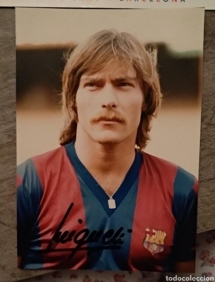 FOTO MIGUELI Y POSTAL BARÇA (Coleccionismo Deportivo - Postales de Deportes - Fútbol)
