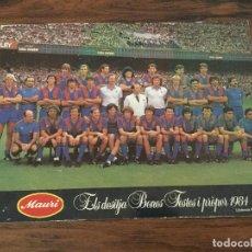Coleccionismo deportivo: CARTEL TIPO POSTAL PLANTILLA FUTBOL CLUB BARCELONA 1984 MARADONA,QUINI, ARTOLA,ETC PUBLICIDAD MAURI. Lote 168781020
