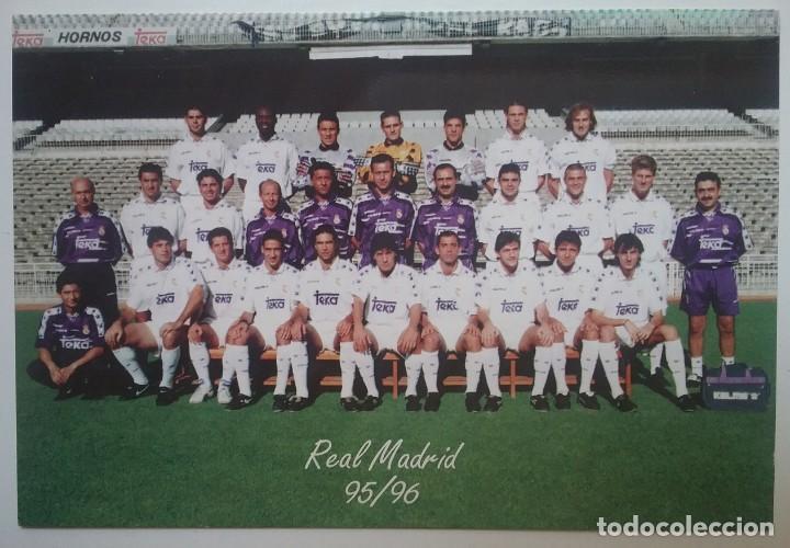 REAL MADRID FÚTBOL POSTAL EQUIPO PLANTILLA TEMP. 1995- 1996 (Coleccionismo Deportivo - Postales de Deportes - Fútbol)