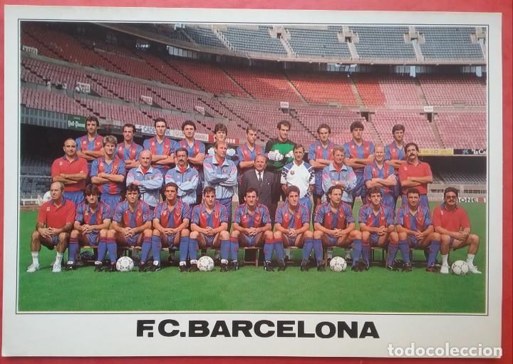 BARÇA F.C. BARCELONA FÚTBOL POSTAL EQUIPO PLANTILLA TEMP. 1990 - 1991 GRAN FORMATO (Coleccionismo Deportivo - Postales de Deportes - Fútbol)