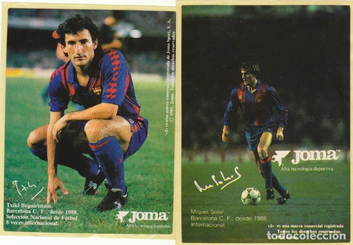 LOTE DOS PEGATINAS.FC BARCELONA.BEGUIRISTAIN Y SOLER.JOMA. (Coleccionismo Deportivo - Postales de Deportes - Fútbol)