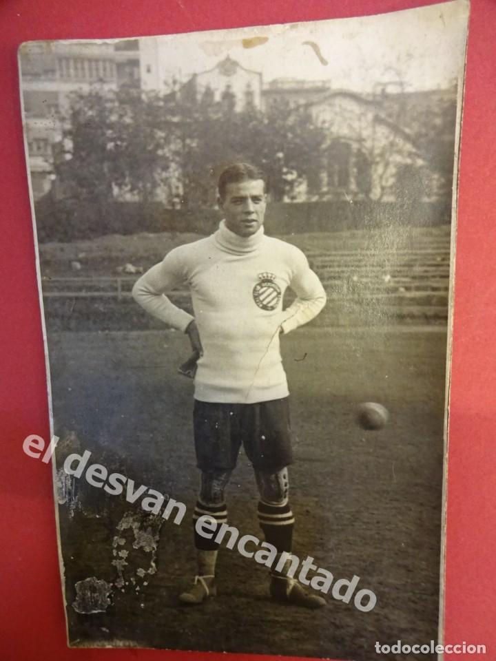 RICARDO ZAMORA. RCD ESPAÑOL. ANTIGUA POSTAL FOTOGRÁFICA. ALGUNA MANCHA DEL TIEMPO (Coleccionismo Deportivo - Postales de Deportes - Fútbol)