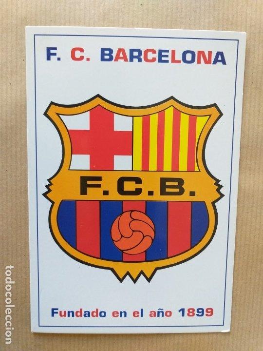 POSTAL DE FÚTBOL. ESCUDO DEL F. C. BARCELONA (Coleccionismo Deportivo - Postales de Deportes - Fútbol)