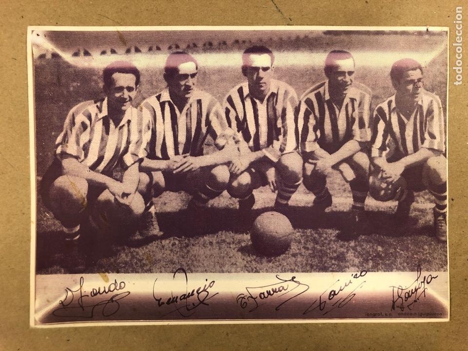 IRIONDO, VENANCIO, ZARRA, PANIZO Y GAINZA (ATHLETIC CLUB). REPRODUCCIÓN FOTOGRAFÍA DELANTERA MÍTICA (Coleccionismo Deportivo - Postales de Deportes - Fútbol)