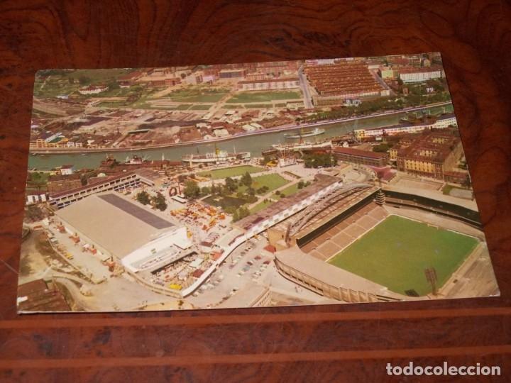 BILBAO VISTA AÉREA DEL ESTADIO SAN MAMÉS Y DEUSTO, CIRCULADA 21/6/68, EDICIONES SIMA BILBAO 1.967 (Coleccionismo Deportivo - Postales de Deportes - Fútbol)