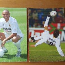 Coleccionismo deportivo: LOTE 2 FOTOGRAFÍAS REAL MADRID ( RONALDO - MORIENTES ), MAGIC BOX. Lote 183008172