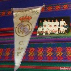 Coleccionismo deportivo: SIN USO POSTAL REAL MADRID PENTACAMPEÓN COPA EUROPA Y BANDERÍN. REGALO OTRO X TROFEO RAMÓN CARRANZA. Lote 184322600