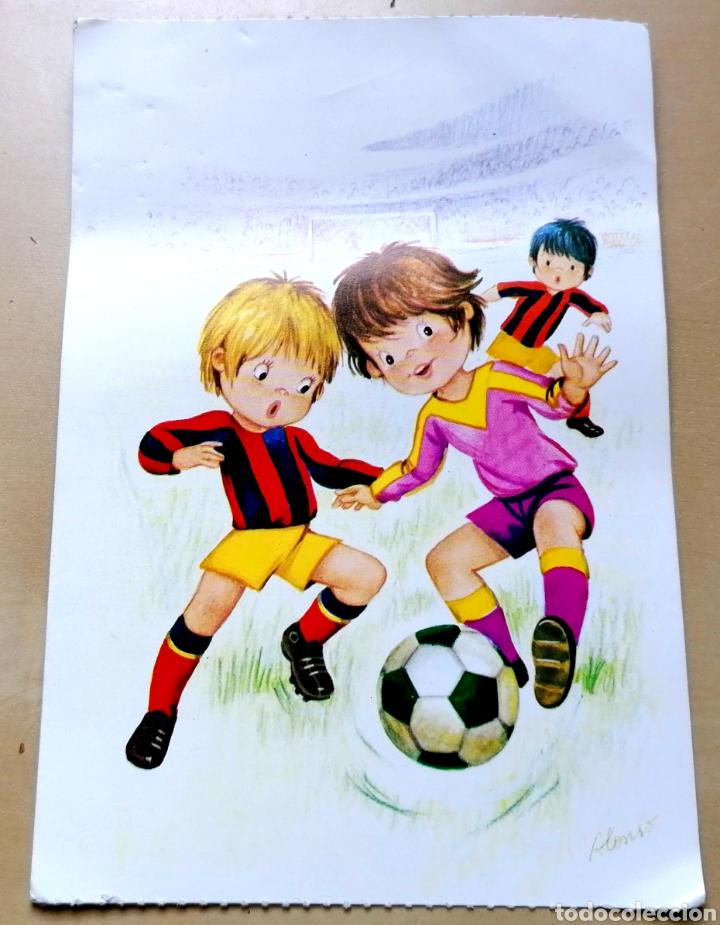 ANTIGUA POSTAL - FUTBOLEROS, ILUSTRACIÓN DE ALONSO / NO CIRCULADA. (Coleccionismo Deportivo - Postales de Deportes - Fútbol)