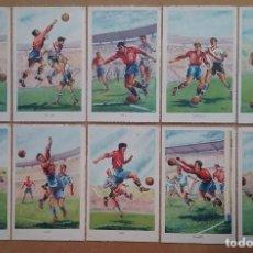 Coleccionismo deportivo: FÚTBOL MUNDIAL BRASIL 1950 ASES DEL BALÓN ESPAÑA POSTAL COLECCIÓN COMPLETA . Lote 194694688