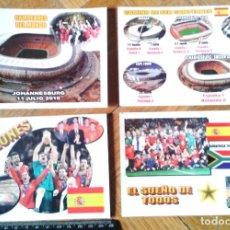 Coleccionismo deportivo: LOTE 4 POSTALES ESTADIO Y EQUIPO ESPAÑA CAMPEON MUNDIAL 2010 COMPLETA Y NUMERADA POSTCARD R. Lote 198313737